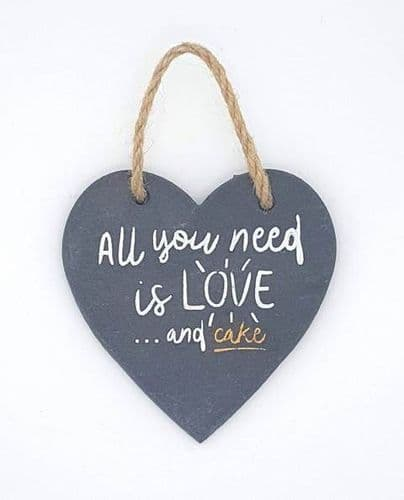 Slate heart hanging decorations - all you need is love and cake